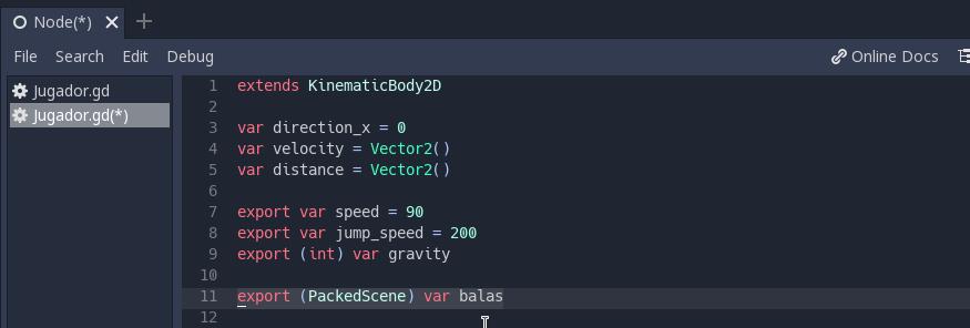 Hacer variables con «export» en Godot